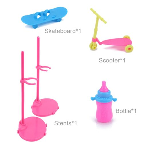 1 Set Doll Accessories For Barbie Doll Shoes Boots Mini Dress Handbags Crown Hangers Glasses Doll 4