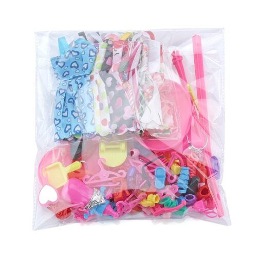 1 Set Doll Accessories For Barbie Doll Shoes Boots Mini Dress Handbags Crown Hangers Glasses Doll 5