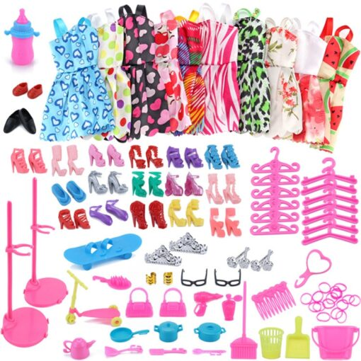 1 Set Doll Accessories For Barbie Doll Shoes Boots Mini Dress Handbags Crown Hangers Glasses Doll