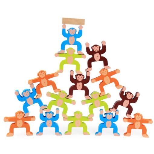 1 Set Wood Building Blocks Balancing Developmental Educational Game Toy Wooden Panda Monkey Balance Interactive Toys 2