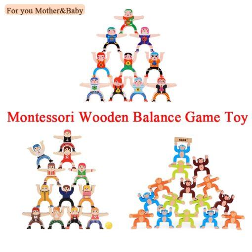 1 Set Wood Building Blocks Balancing Developmental Educational Game Toy Wooden Panda Monkey Balance Interactive Toys