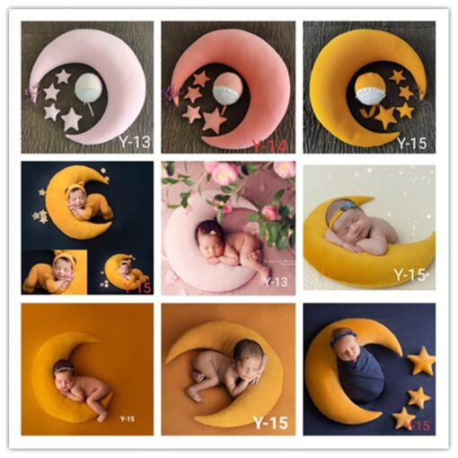 1 set newborn baby photography props moon shaped pillows with 4 stars and hats full moon 1