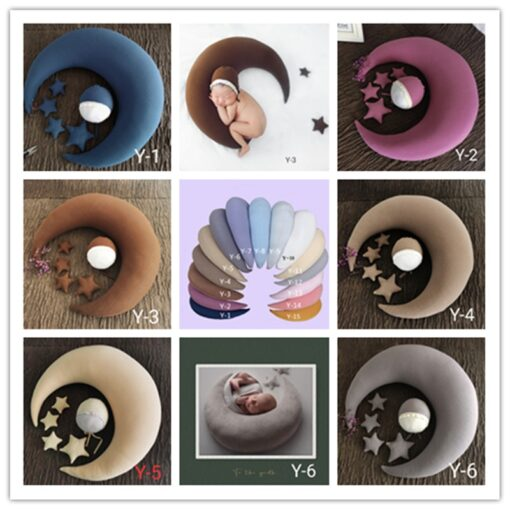 1 set newborn baby photography props moon shaped pillows with 4 stars and hats full moon 2
