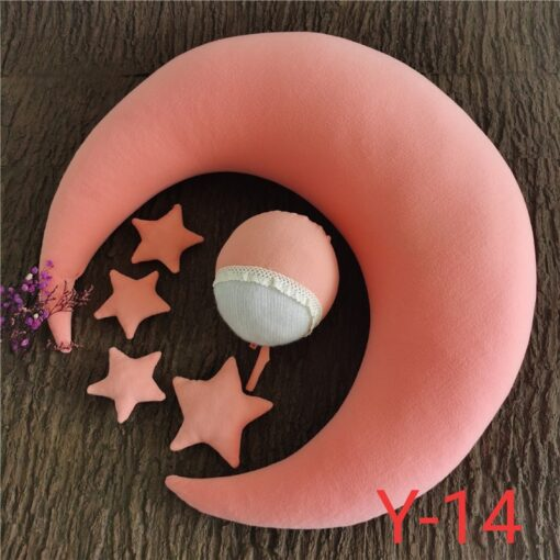 1 set newborn baby photography props moon shaped pillows with 4 stars and hats full moon 3
