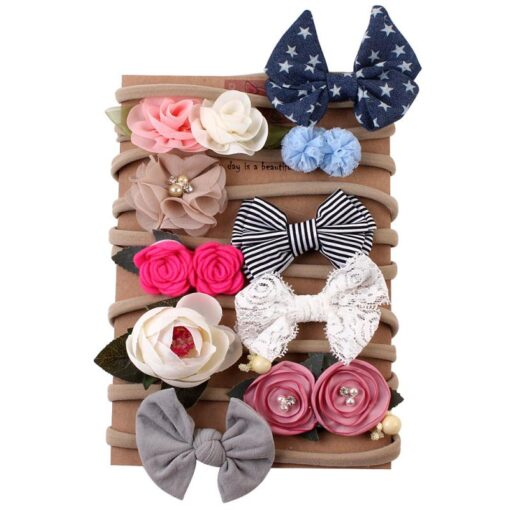 10 Piece Set Baby Headwear Hair Band High Elastic Nylon Flower Print Flowers Elegance Hair Accessories 2