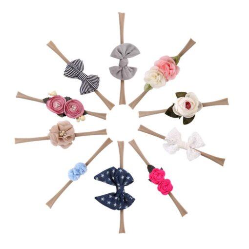 10 Piece Set Baby Headwear Hair Band High Elastic Nylon Flower Print Flowers Elegance Hair Accessories 3
