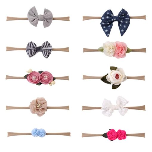 10 Piece Set Baby Headwear Hair Band High Elastic Nylon Flower Print Flowers Elegance Hair Accessories 5