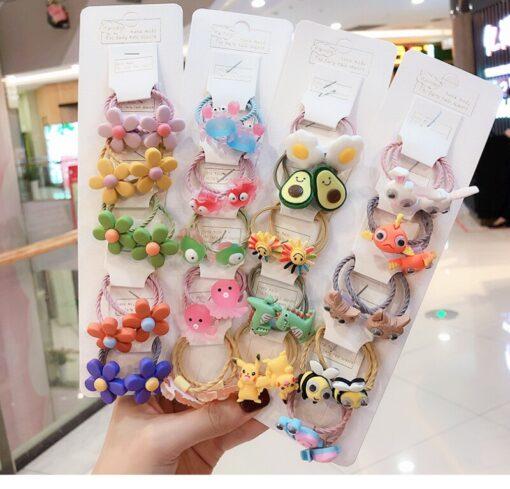 10 pcs set girl cute cartoon fruit animal elastic hair hoop head rope ponytail holder baby 3