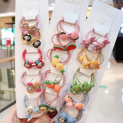 10 pcs set girl cute cartoon fruit animal elastic hair hoop head rope ponytail holder baby 4