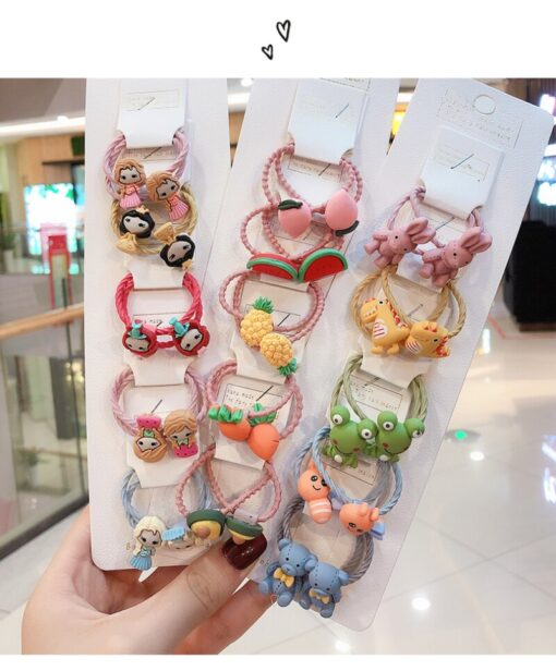 10 pcs set girl cute cartoon fruit animal elastic hair hoop head rope ponytail holder baby 5