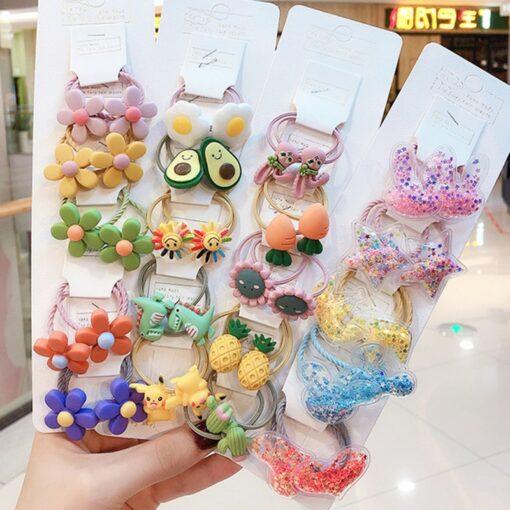 10 pcs set girl cute cartoon fruit animal elastic hair hoop head rope ponytail holder baby