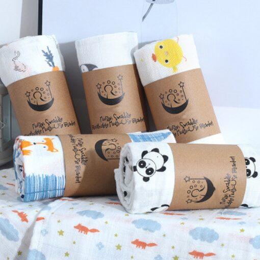 100 Cotton Baby Blanket Cute Cartoon Newborn Blankets Bath Gauze Infant Wrap Sleepsack Stroller Cover Play 2
