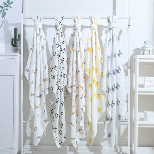 100 Cotton Baby Blanket Cute Cartoon Newborn Blankets Bath Gauze Infant Wrap Sleepsack Stroller Cover Play