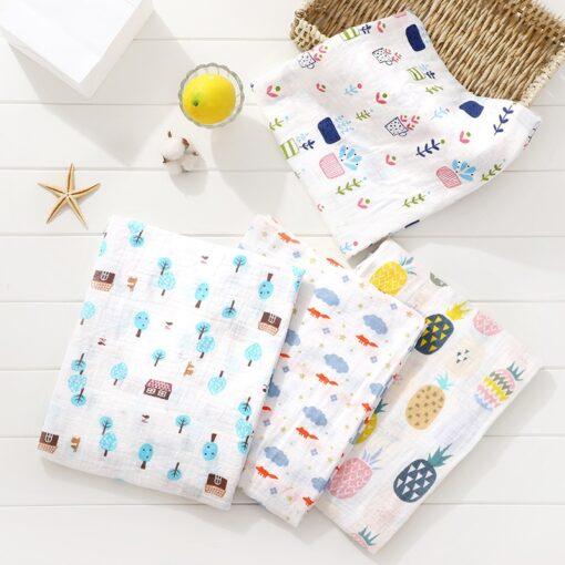 100 Cotton Baby Swaddles Soft Newborn Blankets Bath Gauze Infant Wrap Sleepsack Stroller Cover Play Mat 1