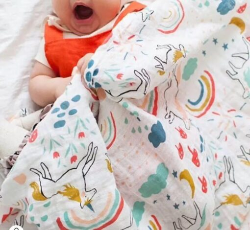 100 Cotton Muslin Baby Blankets Swan Rose Fruits Print Bedding Infant Swaddle Towel for Newborns Swaddle 2