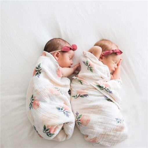 100 Cotton Muslin Baby Blankets Swan Rose Fruits Print Bedding Infant Swaddle Towel for Newborns Swaddle 3