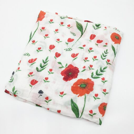 100 Cotton Muslin Baby Blankets Swan Rose Fruits Print Bedding Infant Swaddle Towel for Newborns Swaddle 4