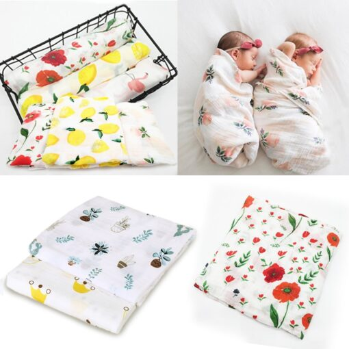 100 Cotton Muslin Baby Blankets Swan Rose Fruits Print Bedding Infant Swaddle Towel for Newborns Swaddle
