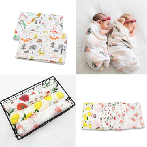 100 Cotton Swan Rose Fruits Print Muslin Baby Blankets Bedding Infant Swaddle Towel for Newborns Swaddle