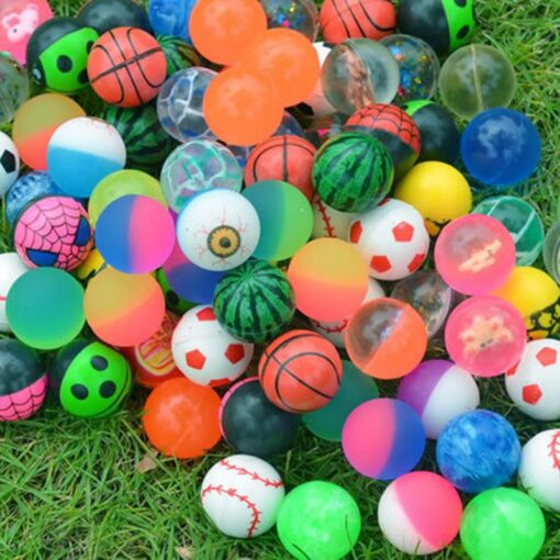 100pc Solid Bouncy Ball Toy Colorful Rubber Ball Funny Outdoors Mixed Jumping Elastic Floating Ball Children 1