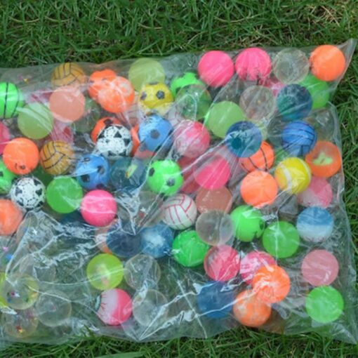 100pc Solid Bouncy Ball Toy Colorful Rubber Ball Funny Outdoors Mixed Jumping Elastic Floating Ball Children 3