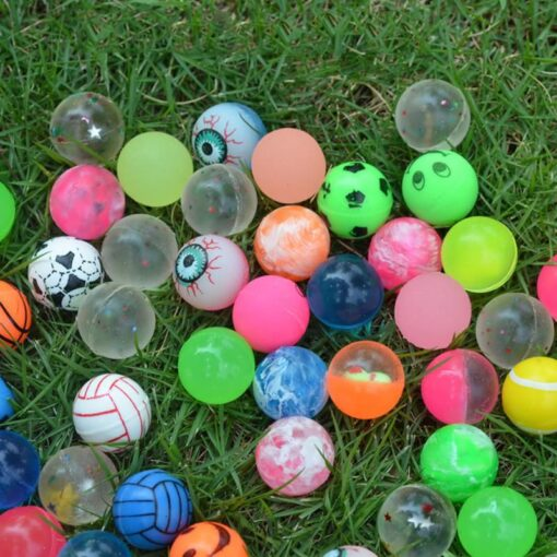 100pc Solid Bouncy Ball Toy Colorful Rubber Ball Funny Outdoors Mixed Jumping Elastic Floating Ball Children 4