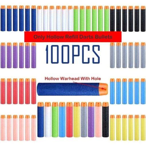 100pcs For Nerf Bullets EVA Soft Hollow Hole Head 7 2cm Refill Bullet Darts for Nerf 8