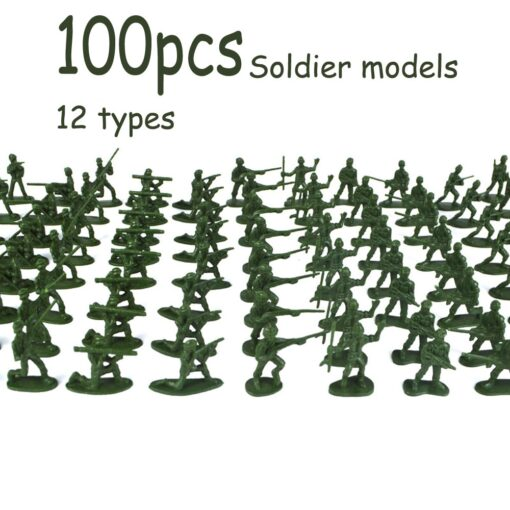 100pcs Pack Mini Soldier Model Military Plastic Toy Soldier Army Men Figures Playset Kit Gift Model