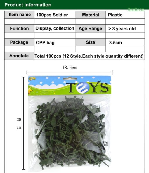 100pcs lot 3 5cm high Soldier Model Military sandbox game Plastic Toy Soldier Army Men Figures 5