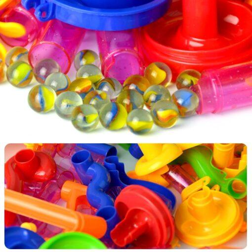 105 109pcs Set DIY Construction Marble Race Run Track Building Blocks Kids Maze Ball Roll Toys 3