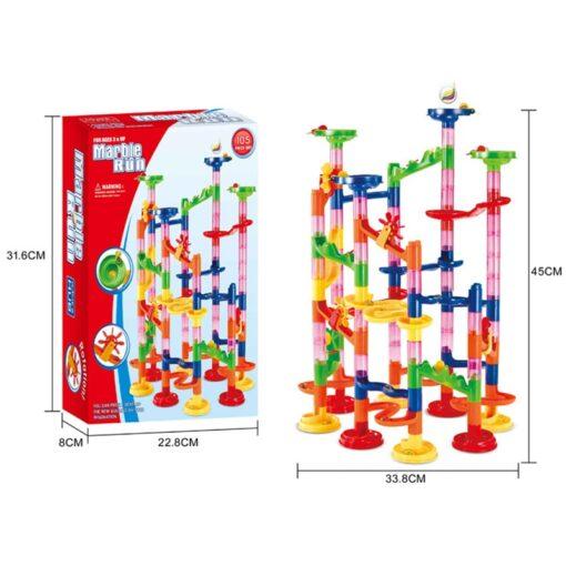 105 109pcs Set DIY Construction Marble Race Run Track Building Blocks Kids Maze Ball Roll Toys 4