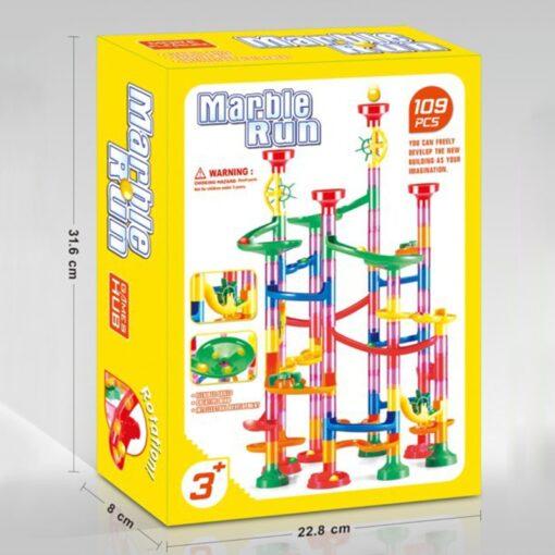 105 109pcs Set DIY Construction Marble Race Run Track Building Blocks Kids Maze Ball Roll Toys 5