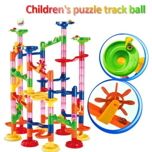 105 109pcs Set DIY Construction Marble Race Run Track Building Blocks Kids Maze Ball Roll Toys
