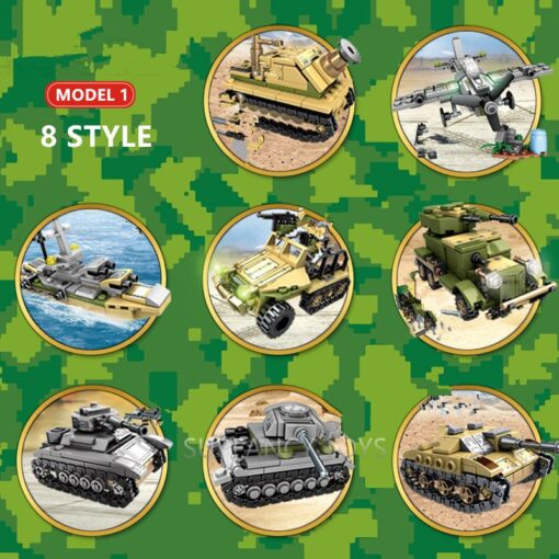 1061Pcs Military Technic Iron Empire Tank Building Blocks Set Weapon War Chariot Creator Army WW2 Soldiers 2