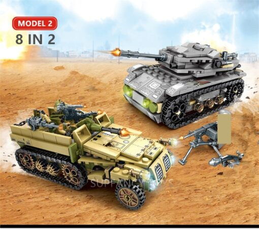 1061Pcs Military Technic Iron Empire Tank Building Blocks Set Weapon War Chariot Creator Army WW2 Soldiers 3
