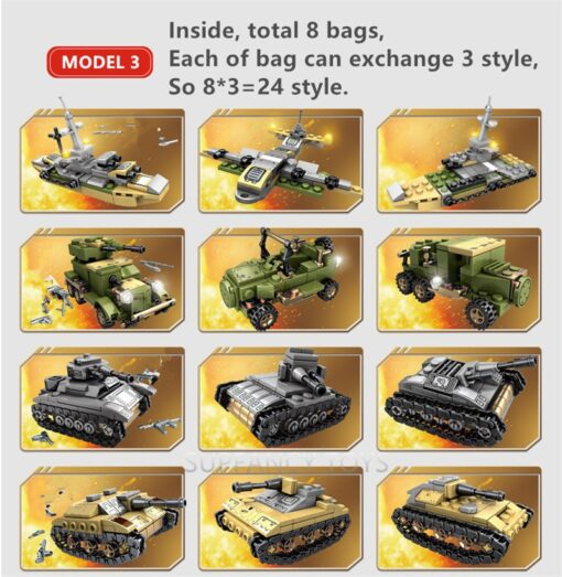 1061Pcs Military Technic Iron Empire Tank Building Blocks Set Weapon War Chariot Creator Army WW2 Soldiers 4