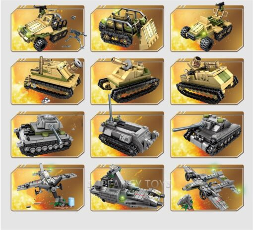 1061Pcs Military Technic Iron Empire Tank Building Blocks Set Weapon War Chariot Creator Army WW2 Soldiers 5