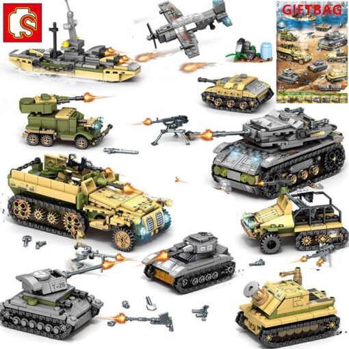 1061Pcs Military Technic Iron Empire Tank Building Blocks Set Weapon War Chariot Creator Army WW2 Soldiers