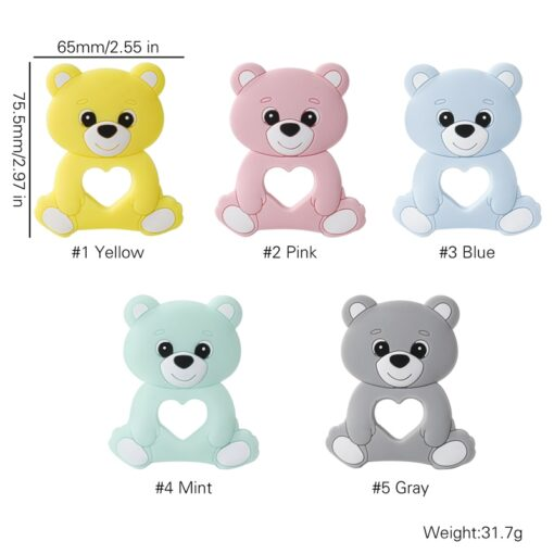 10PCS 5PCS Silicone Bear Cartoon Bead Stroller Baby Teether Silicone Baby Teether Necklace Bpa Free Food 2