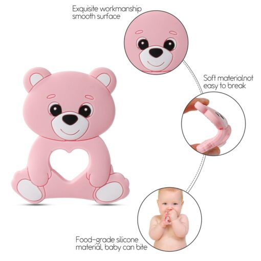 10PCS 5PCS Silicone Bear Cartoon Bead Stroller Baby Teether Silicone Baby Teether Necklace Bpa Free Food 3