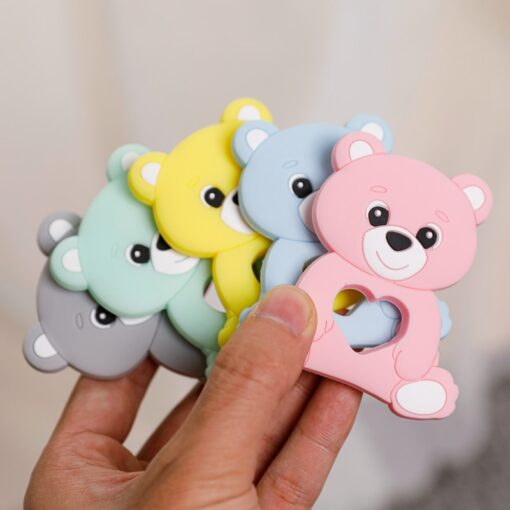 10PCS 5PCS Silicone Bear Cartoon Bead Stroller Baby Teether Silicone Baby Teether Necklace Bpa Free Food 4