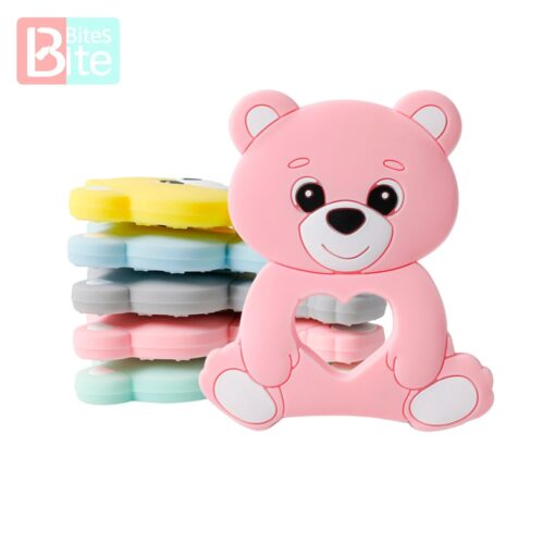 10PCS 5PCS Silicone Bear Cartoon Bead Stroller Baby Teether Silicone Baby Teether Necklace Bpa Free Food