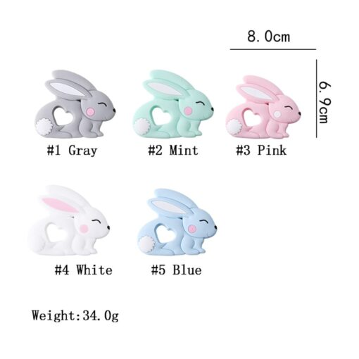 10PCS 5PCS Silicone Rabbit Teether Food Grade Bunny Teether Nursing Teething Necklace Accessories Baby Teether Freeship 2