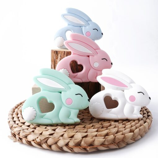 10PCS 5PCS Silicone Rabbit Teether Food Grade Bunny Teether Nursing Teething Necklace Accessories Baby Teether Freeship 4