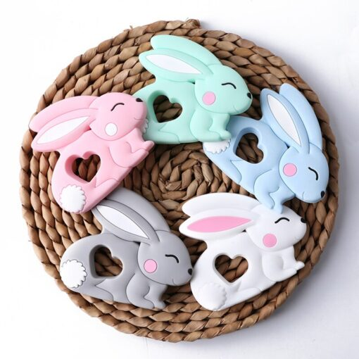 10PCS 5PCS Silicone Rabbit Teether Food Grade Bunny Teether Nursing Teething Necklace Accessories Baby Teether Freeship 5