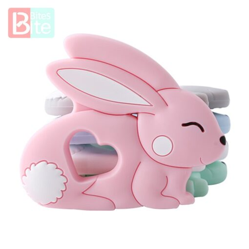10PCS 5PCS Silicone Rabbit Teether Food Grade Bunny Teether Nursing Teething Necklace Accessories Baby Teether Freeship