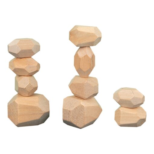10PCS Children s Wooden Colored Stone Jenga Building Block Educational Toy Creative Nordic Style Stacking Game 1