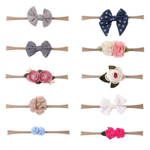 10PCS Elastic Lovely Girls Nylon Baby Headwear Hair Accessories Headband Flower Bow 2