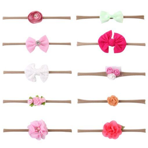 10PCS Elastic Lovely Girls Nylon Baby Headwear Hair Accessories Headband Flower Bow 3