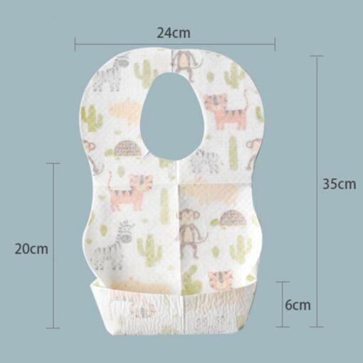 10PCS Lot Baby Waterproof Non Woven Fabric Disposable Bibs Portable Baby Toddler Bibs Feeding Saliva Apron 1